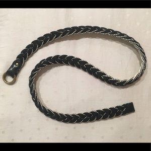 Madewell Black/White Braided Cloth Belt